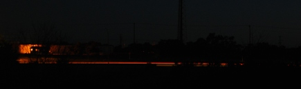 Trails of car lights at night